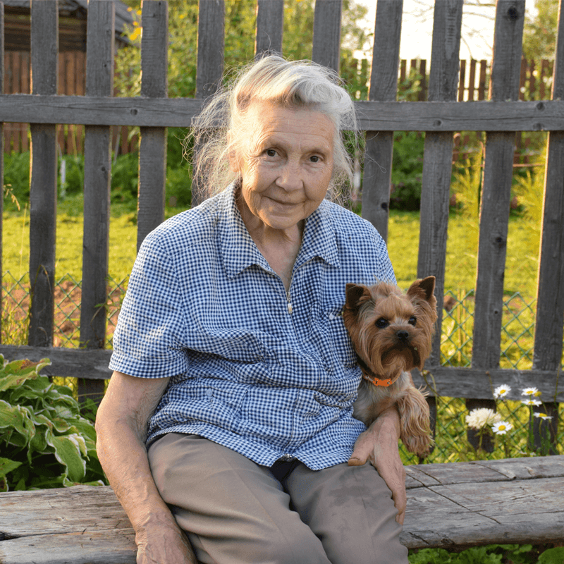 lady on bench with dog